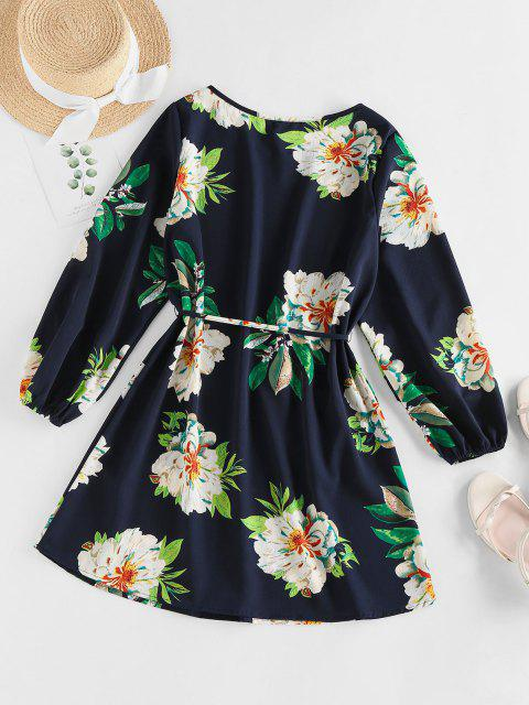 chic ZAFUL Flower Belted Long Sleeve Mini Dress - DEEP BLUE L Mobile