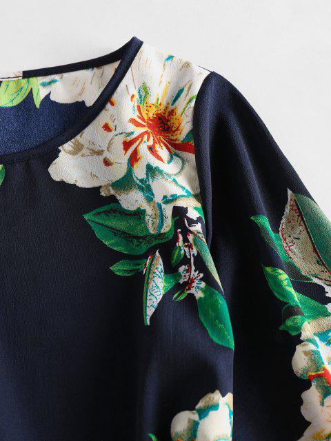 unique ZAFUL Flower Belted Long Sleeve Mini Dress - DEEP BLUE S Mobile