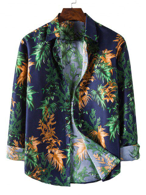 sale Long Sleeve Tropical Leaves Print Shirt - MIDNIGHT BLUE M Mobile