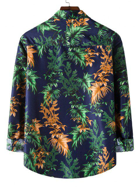 Long Sleeve Tropical Leaves Print Shirt - منتصف الليل الأزرق M Mobile