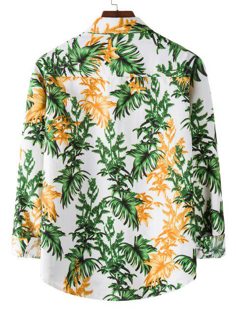 outfits Long Sleeve Tropical Leaves Print Shirt - WHITE L Mobile