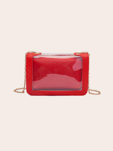 buy Transparent Chain Crossbody Bag - RUBY RED  Mobile