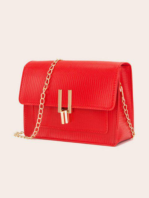 online Rectangle Chain Cover Crossbody Bag - RED  Mobile