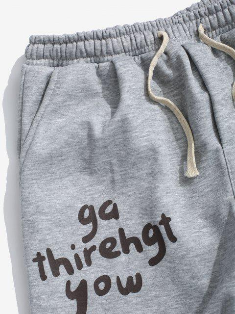 Jogger Jogginghose mit Schafwolle und Buchstaben - Platin 2XL Mobile