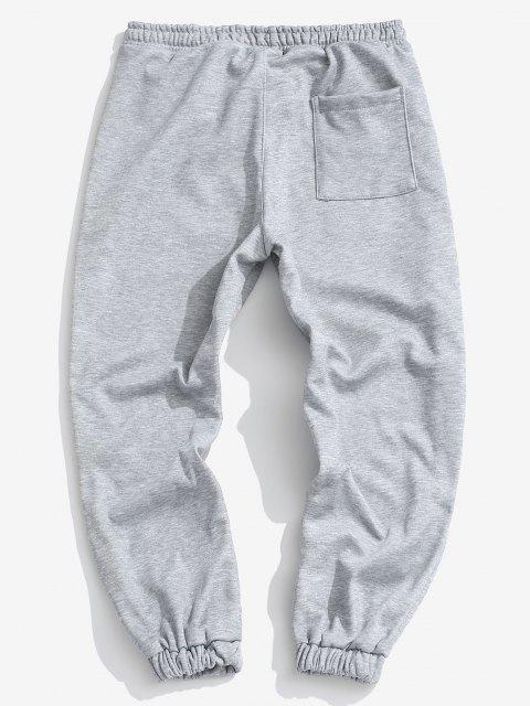 fancy Fleece Lined Letter Jogger Sweatpants - PLATINUM L Mobile