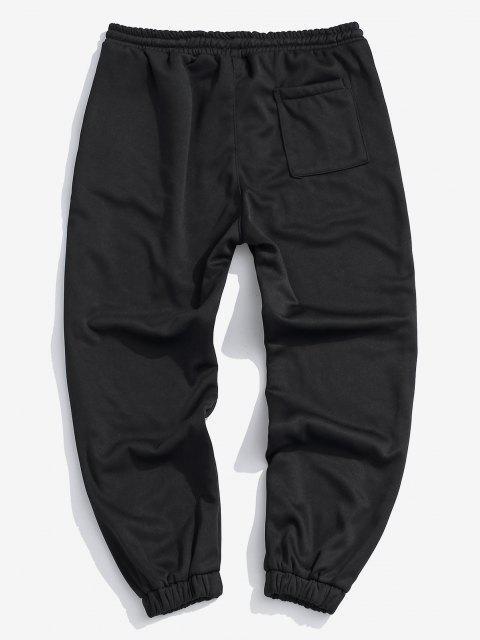 hot Fleece Lined Letter Jogger Sweatpants - BLACK XL Mobile