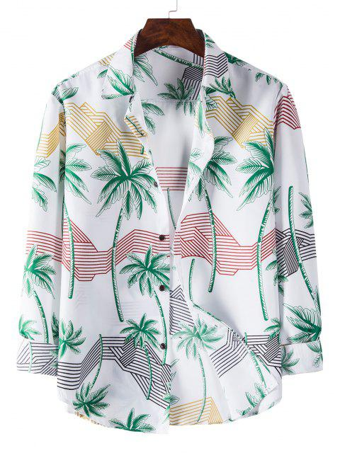 Long Sleeve Palm Tree Striped Print Shirt - أبيض L Mobile