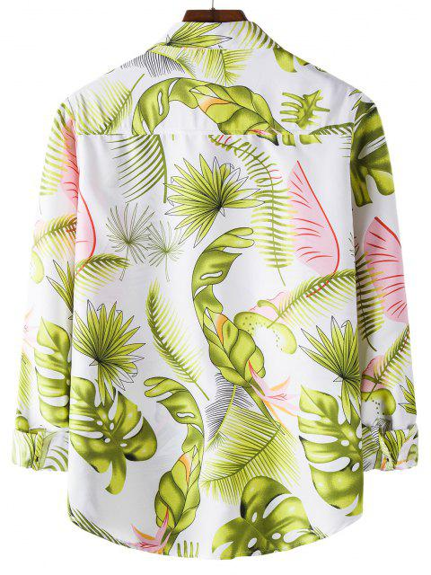 latest Tropical Leaves Print Long Sleeves Shirt - WHITE M Mobile