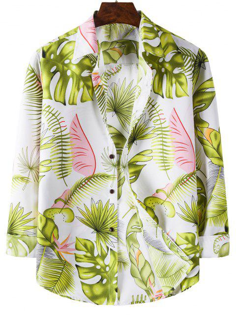 Camisa Manga Larga Estampado Hojas Tropicales - Blanco XL Mobile