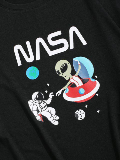 T-shirt con Stampa di Pianeta e Astronauta - Nero XS Mobile