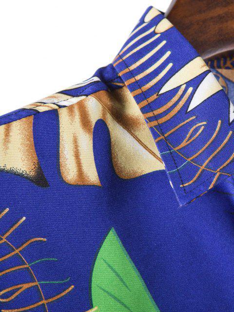fashion Tropical Leaves Print Long Sleeves Shirt - BLUEBERRY BLUE 2XL Mobile