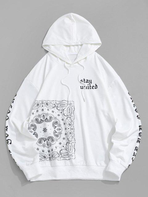 Moletom com Capuz de Impresso Paisley Bolsos de Canguru - Branco S Mobile