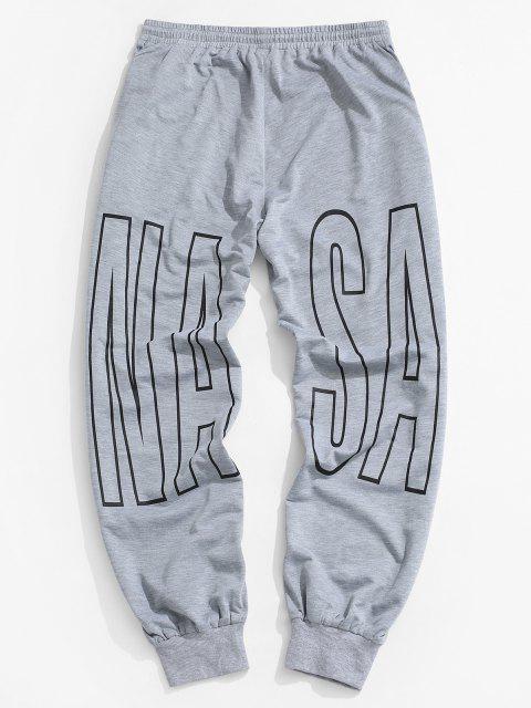 Pantalones Deportivos Cordones Estampado Letras - Gris Claro S Mobile
