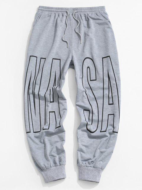 fancy Letter Print Drawstring Sports Pants - LIGHT GRAY L Mobile