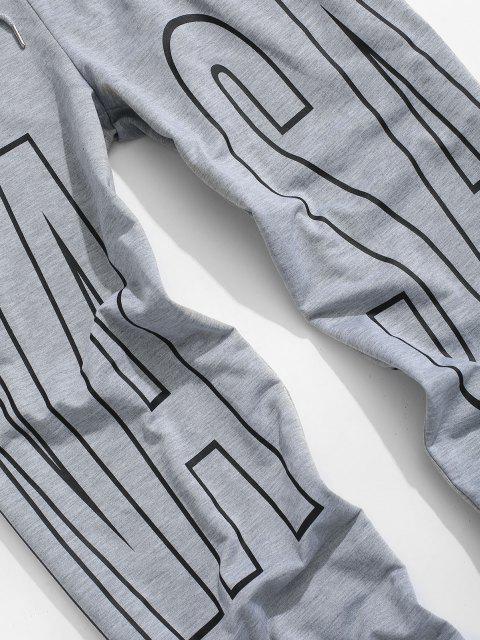 Pantalones Deportivos Cordones Estampado Letras - Gris Claro 2XL Mobile