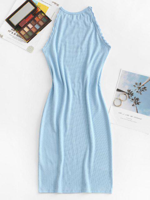 women Ribbed Braided Trim Mini Tank Dress - LIGHT BLUE L Mobile