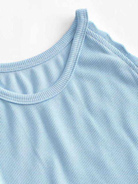 online Ribbed Braided Trim Mini Tank Dress - LIGHT BLUE M Mobile