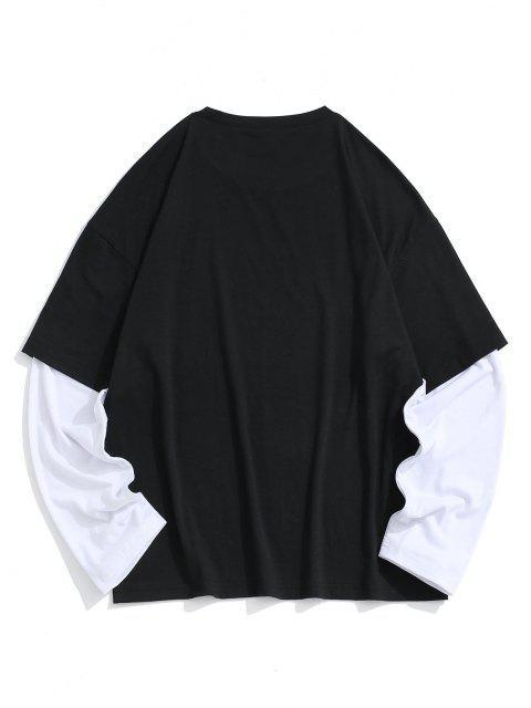 Figure Drawing Print Faux Twinset T-shirt - أسود L Mobile