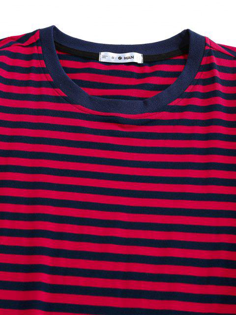 T-Shirt di ZAFUL a Righe con Maniche Corte - Rosso XL Mobile