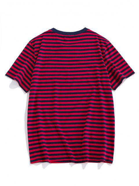 fancy ZAFUL Short Sleeve Striped Print T-shirt - RED S Mobile