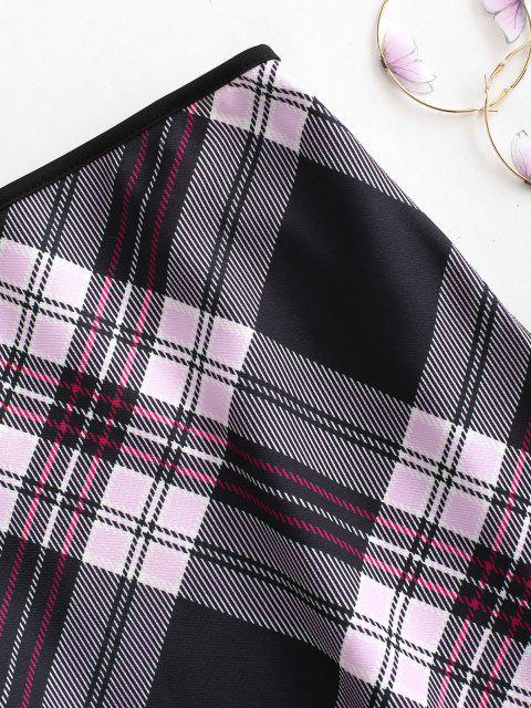 fancy Contrast Piping Plaid Mini Skirt - MULTI L Mobile