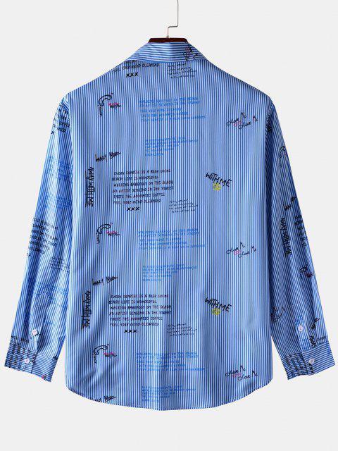 sale Stripe Letter Long Sleeve Pocket Shirt - BLUE S Mobile