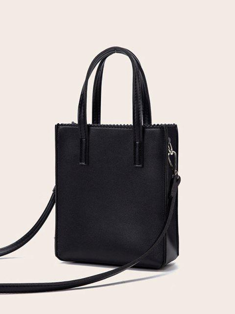 latest Zigzag Edge Solid Tote Bag - BLACK  Mobile