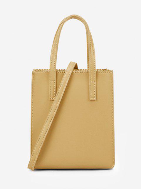 trendy Zigzag Edge Solid Tote Bag - GOLDENROD  Mobile