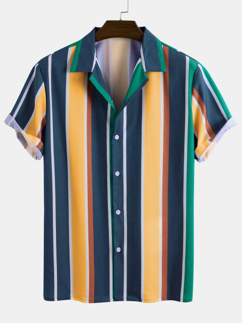 women Contrast Stripe Short Sleeve Button Up Shirt - MULTI 2XL Mobile