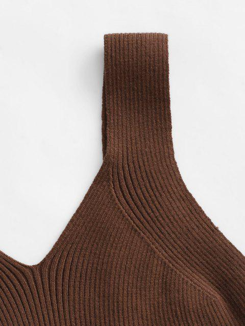 fancy Solid Ribbed Knitted Crop Top - COFFEE M Mobile