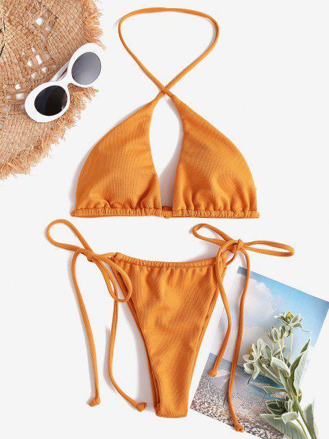 chic ZAFUL Halter Textured Crossover Tie String Bikini Swimwear - GOLDEN BROWN M Mobile
