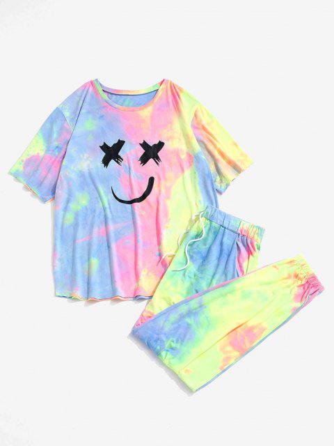 womens Tie Dye Smiling Face T-shirt And Pants Two Piece Set - LIGHT PINK S Mobile