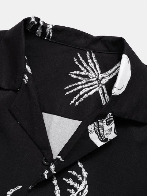 affordable Skull Skeleton Print Short Sleeve Gothic Shirt - BLACK 2XL Mobile