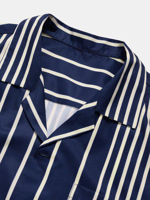 latest Short Sleeve Contrast Stripe Pocket Shirt - DEEP BLUE XL Mobile