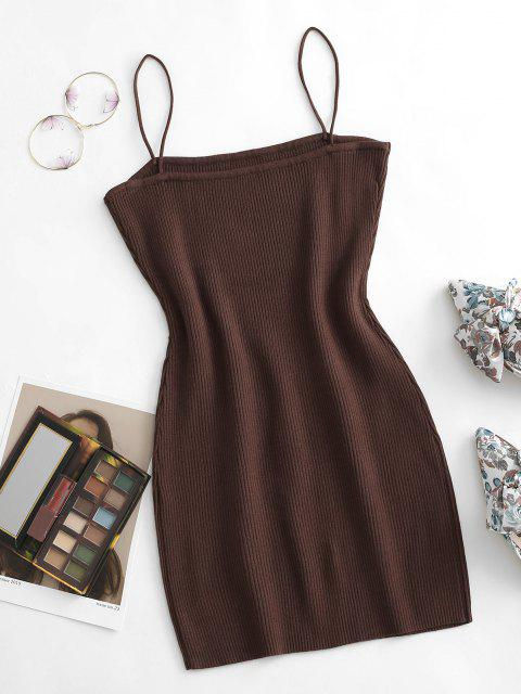 outfits Cami Ribbed Slinky Mini Dress - COFFEE L Mobile