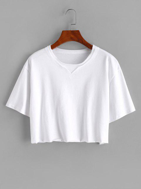affordable Boxy Topstitching Raw Hem Crop Tee - WHITE S Mobile