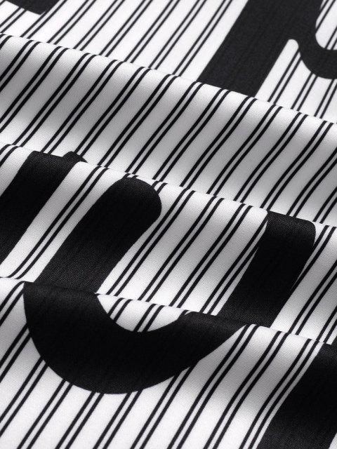 womens Short Sleeve Stripe Letter Shirt - BLACK XL Mobile