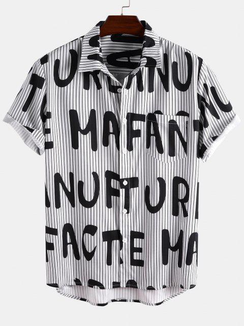 hot Short Sleeve Stripe Letter Shirt - BLACK L Mobile