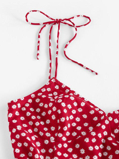 chic ZAFUL Ditsy Print Slit Tie Shoulder Mini Dress - RED M Mobile