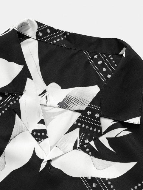 Camisa de Manga Corta de Estampado de Bandeau - Negro 2XL Mobile