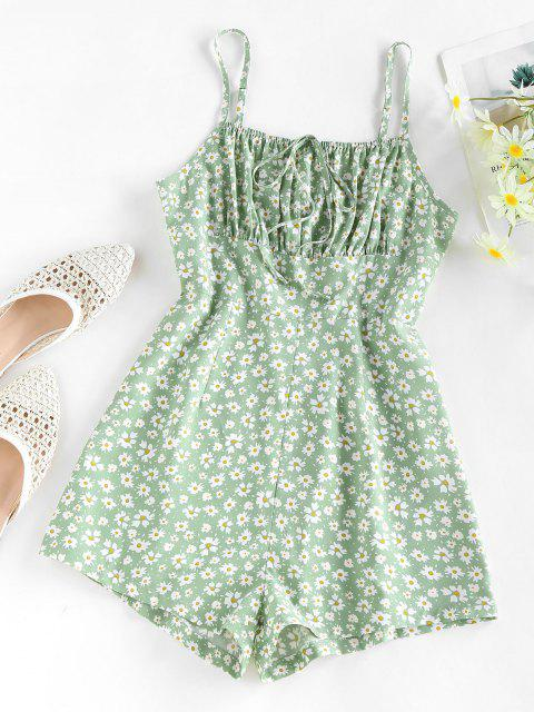 affordable ZAFUL Ditsy Floral Ruched Tied Cami Romper - LIGHT GREEN M Mobile