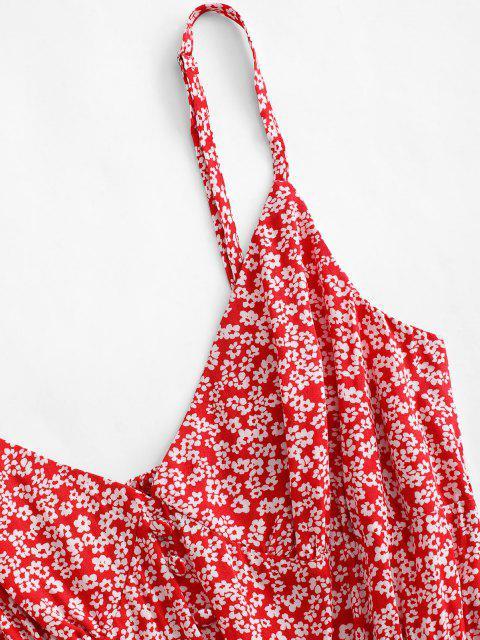 Robe D'Eté Fleurie Imprimée Plissée Au Dos à Volants - Rouge M Mobile