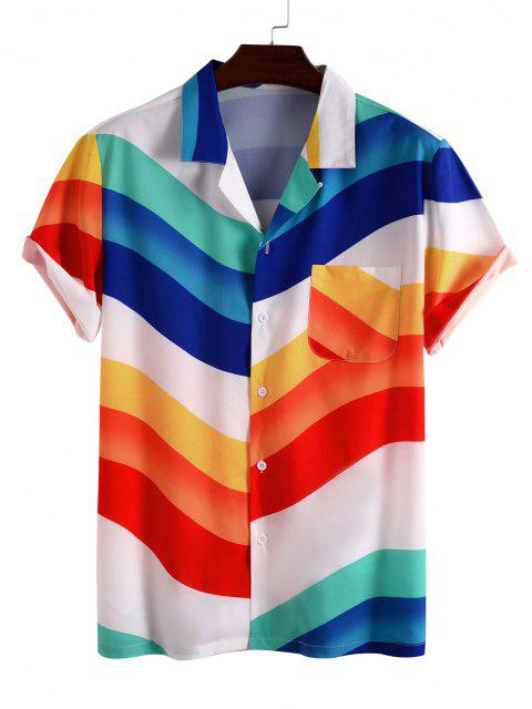 trendy Rainbow Print Pocket Short Sleeve Shirt - WHITE 3XL Mobile
