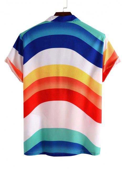 affordable Rainbow Print Pocket Short Sleeve Shirt - WHITE M Mobile