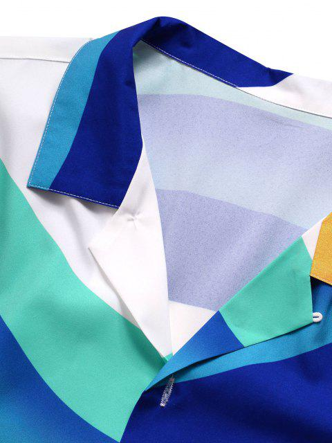 affordable Rainbow Print Pocket Short Sleeve Shirt - WHITE M Mobile