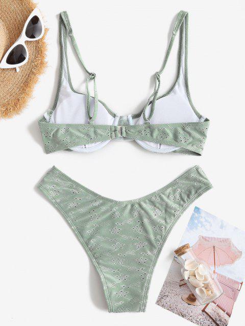 ZAFUL Maillot de Bain Bikini Broderie Anglaise à Armature - Turquoise Grisâtre S Mobile