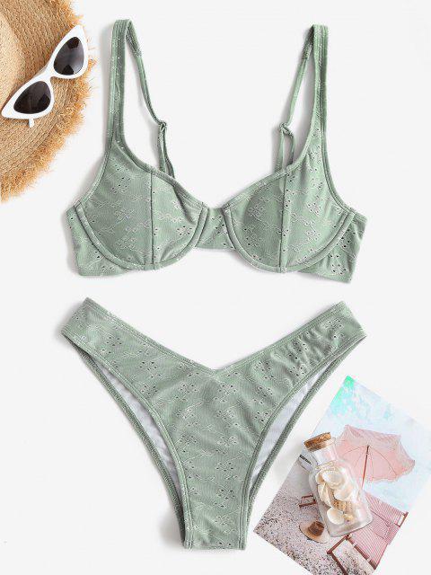 ZAFUL Maillot de Bain Bikini Broderie Anglaise à Armature - Turquoise Grisâtre L Mobile