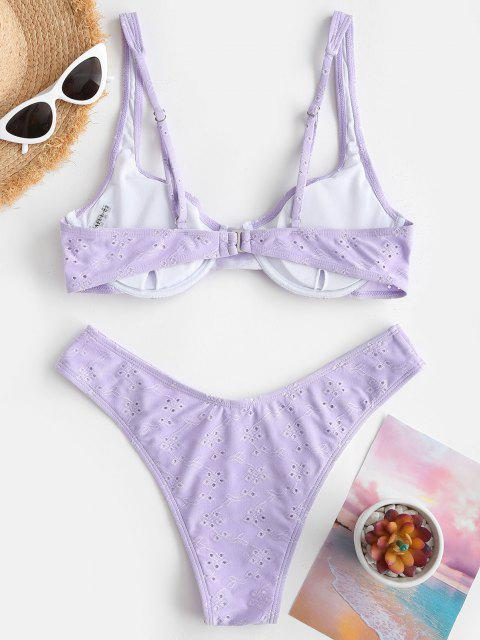 ZAFUL Maillot de Bain Bikini Broderie Anglaise à Armature - Violet clair M Mobile