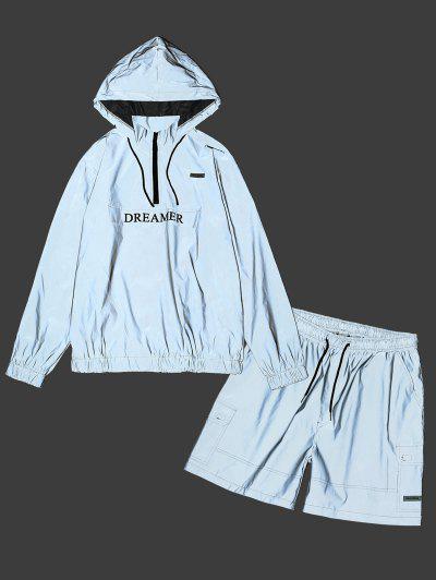 Luminous Dreamer Half Zipper Hoodie And Shorts Set - Gray S