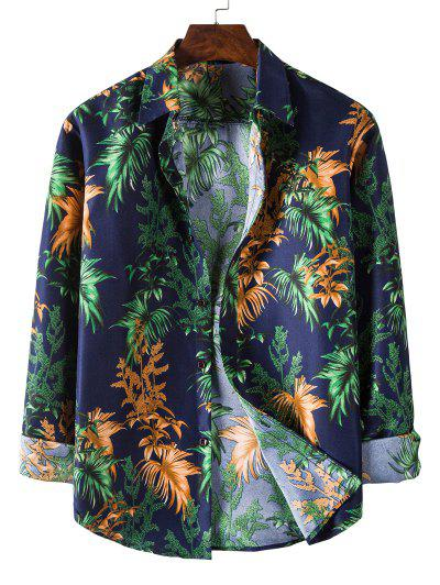 Long Sleeve Tropical Leaves Print Shirt - Midnight Blue M